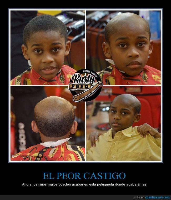 castigar,malo,negro,niño,padre,peluquería,Rusty Fred,sonrisa,triste