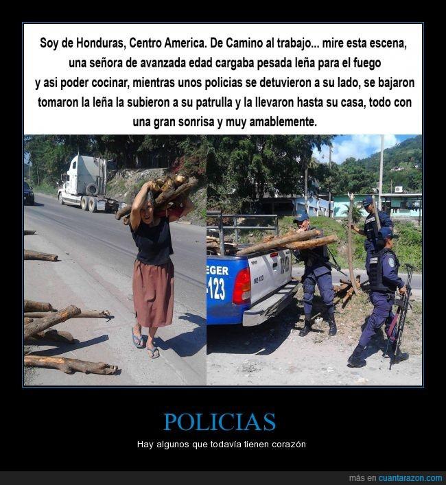 ayudar,Centroamerica,Honduras,llevar,mujer,Pobre,Policia,Señora