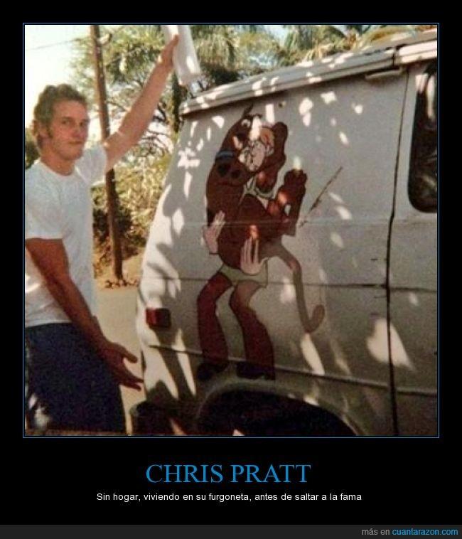 actor,Andy,Chris Pratt,fama,furgoneta,pobre,ruina,Scooby doo,star lord,vivir
