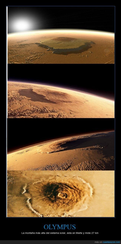 4 veces el Everest,altura,espacio,Marte,montaña,monte,Olympus,planeta,volcan