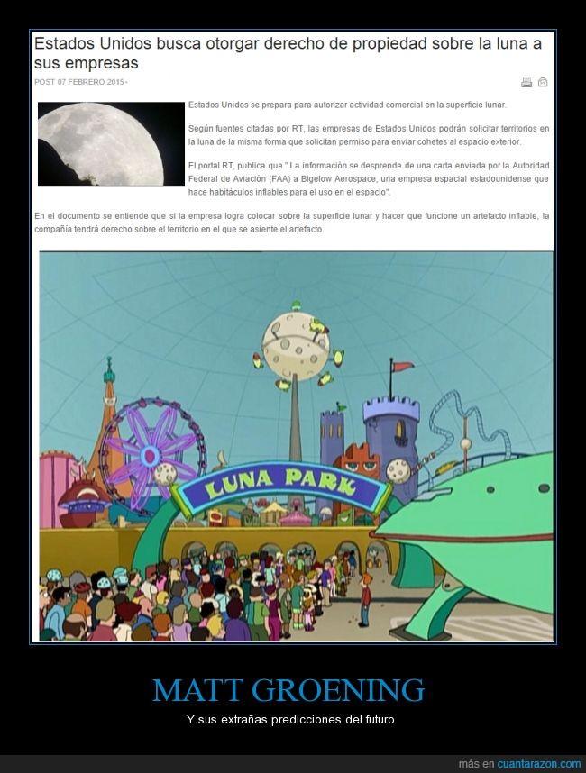 comercio,Futurama. luna,matt groening,parque lunar,prediccion
