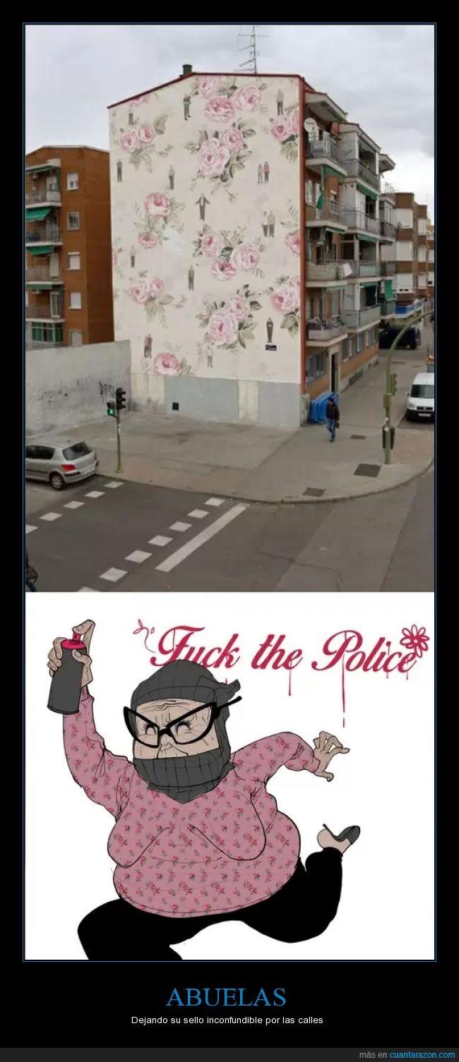 abuelas,decoración urbana,edificio,fllores,gaffiti,humor
