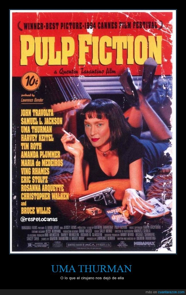 cara,cartel,cirujano,fail,pulp fiction,uma thurman