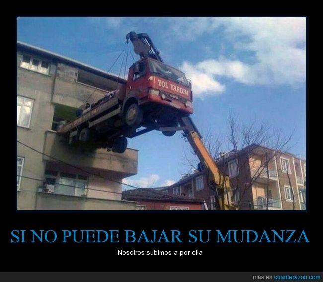 bajar,camión,edificio,grúa,malbares,mudanza,peripecia,subir
