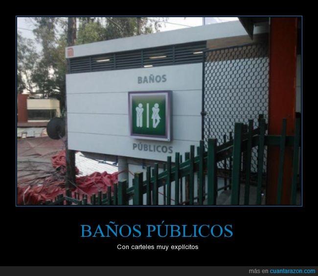 baños públicos,caballeros,cartel,damas,explícitos,ganas,necesidad