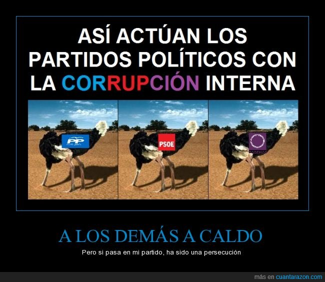 avestruz,corrupcion,esconder,interna,partido,podemos,politica,pp,psoe