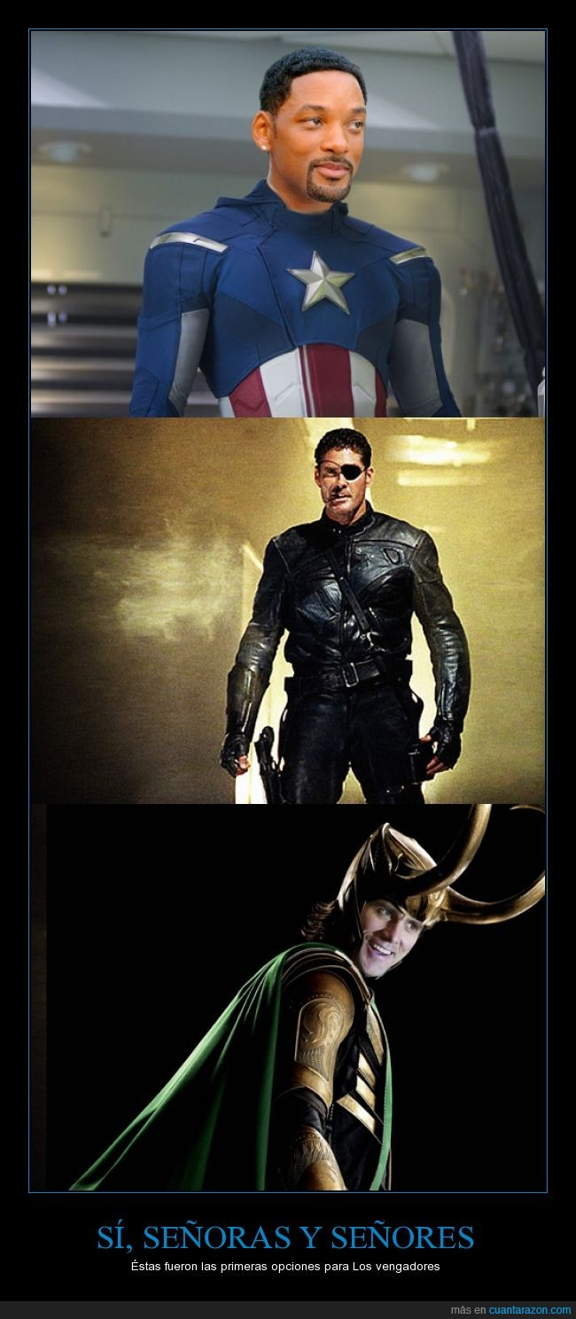 actores,capitán américa,david hasselhoff,jim carrey,loki,marvel,nick fury,personajes,The Avengers,will smith