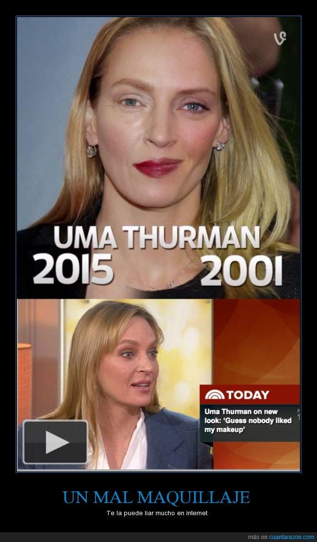 diferente,igual,maquillaje,ojos,Uma Thurman