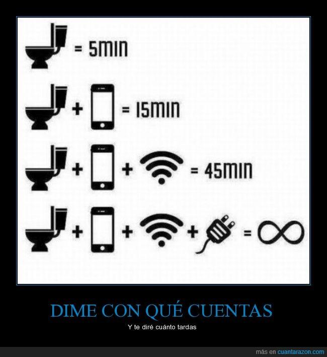 baño,bateria,conexión inalambrica,lavabo,minuto,movil,smartphone,tardanza,tiempo,wifi