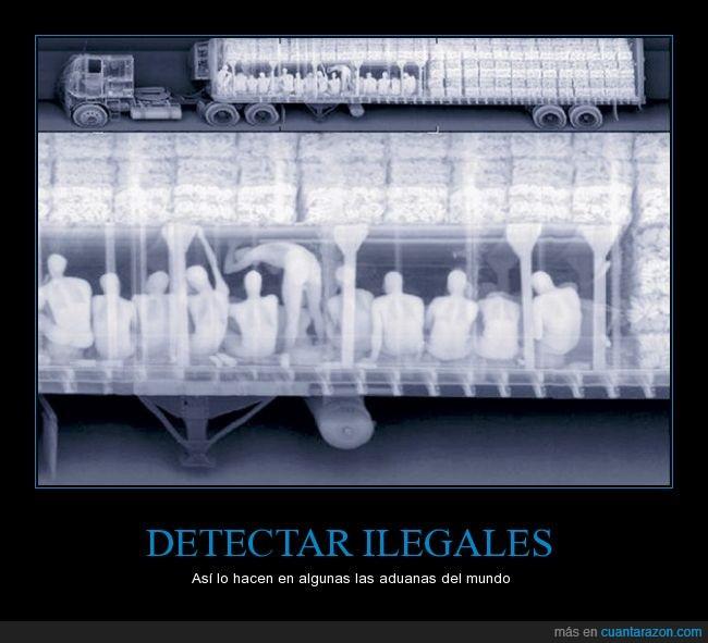 camión,carga,contrabando,debajo,ileglaes,infrarojo,mojados,personas,radiografia,rayos x