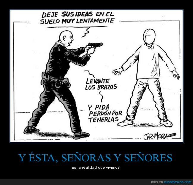 censura,cómic,dibujo,idea,ideas,libertad de expresión,opinion,perdon,pistola,policia,protesta,represión,suelo,verdades