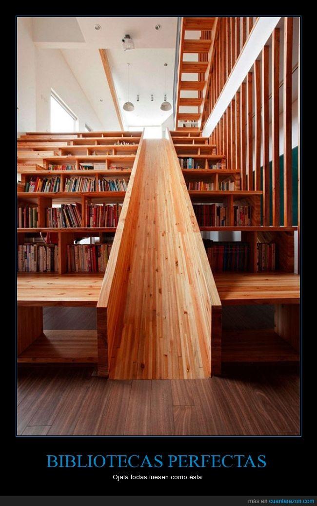 bajar,biblioteca,diseño,escalera,libros,madera,tobogán