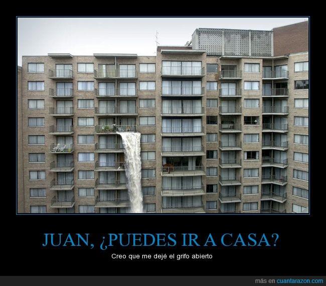 abierto,agua,caida,cascada,chorro,departamentos,edificios,escape,fuga,grifo