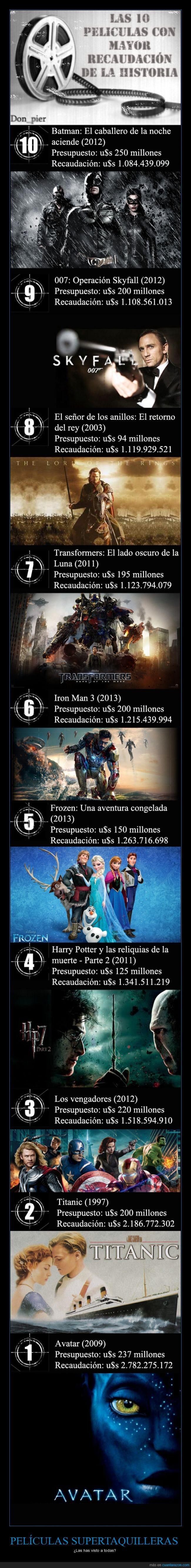 007,avatar,batman,el señor de los anillos,frozen,harry potter,iron man,los vengadores,películas,recaudación,titanic,top 10,transformers