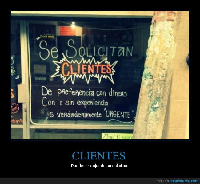 clientes,dinero,publicidad,restaurante,solicitud