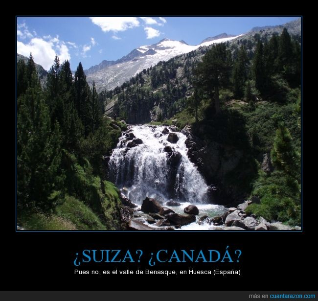 aragon,benasque,cascada aigualluts,españa,huesca,paisaje bonito,pico aneto al fondo,valle