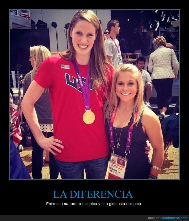 alta,bajita,chicas,deportistas,diferencias,gimnasta,grande,mujeres,nadadora,olimpiadas,pequeña,tamaños