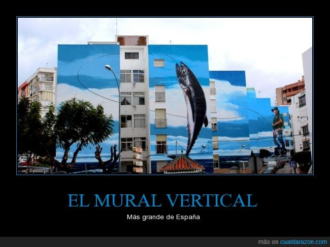 arte,edificio,graffiti,Jose Ríos,mural,pescado,pescar,pez,pintura