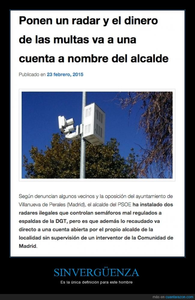 alcalde,banco,cuentas,DGT,dinero,multas,Radar,Villanueva de Perales