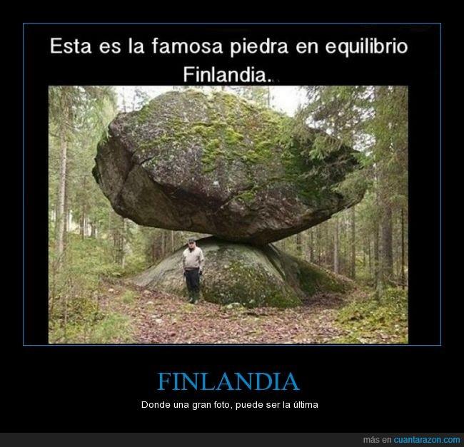 bosque,curiosidades,equilibrio,Finlandia,Krillin murió ahí,piedra,roca
