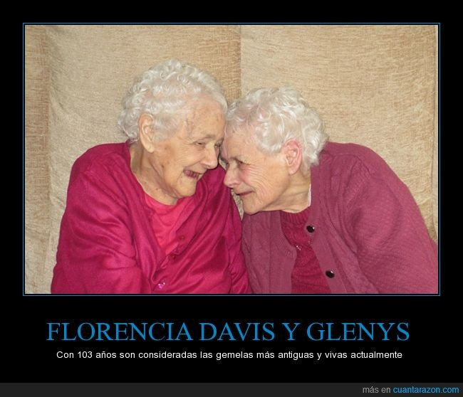 103 años,abuelas,ancianas,Florencia Davis,gemelas,Glenys,hermanas,juntas,longevas,señoras