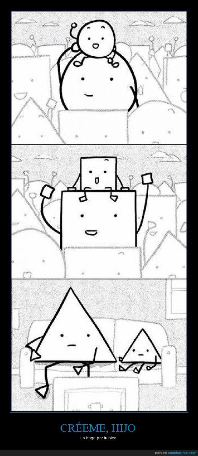 chiste,cuadrados,encima,esferas,figuras geométricas,humor,jugar,padres,redondo,sentar,triángulos
