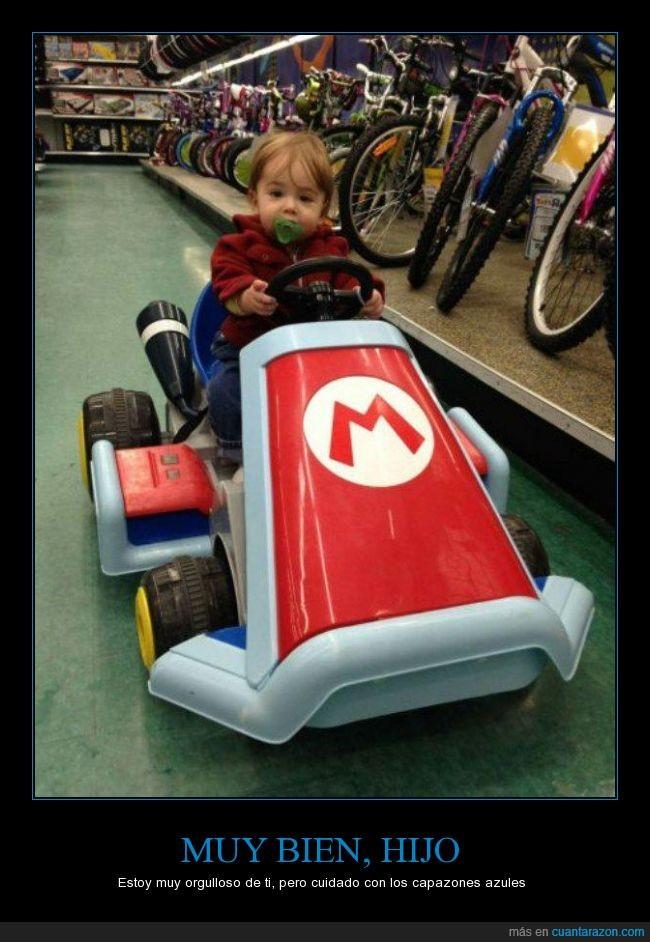 bebe,coche,cochecito,hijo,juguete,kart,mario,niño,pequeño