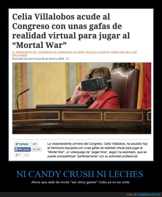 Celia Villalobos,chica,congreso,gafas,gamer,juego,jugar,oculus rift,realidad virtual,vicepresidenta,videojuego