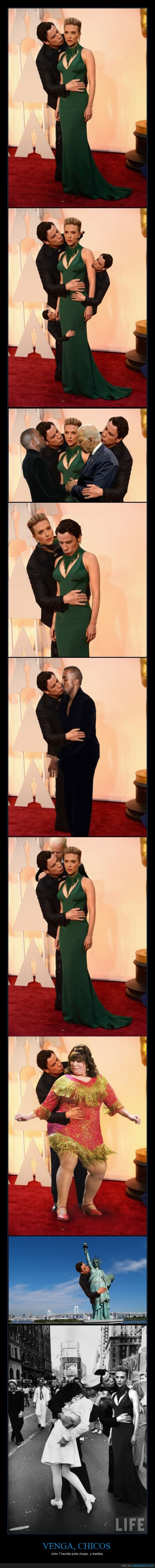 beso,chop,creepy,John Travolta,montaje,oscars 2015,Scarlett Johansson