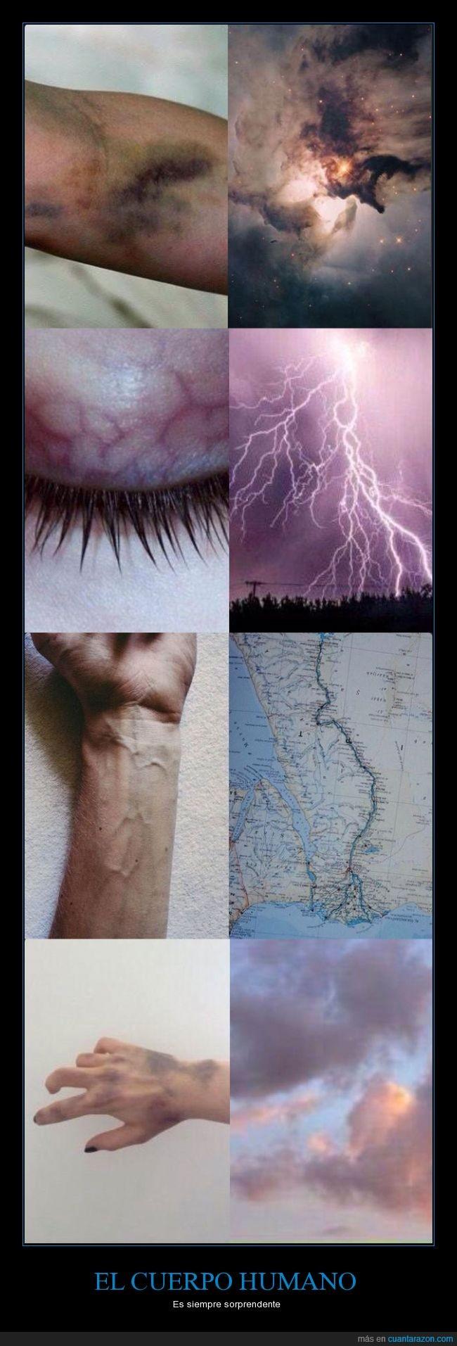 bruises,cardenal,cielo,comparacion,cuerpo,espacio,galaxia,humano,mano,mapa,morado,nube,parecido,semejante,venas