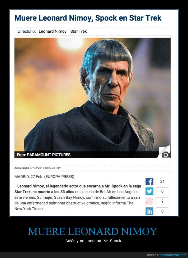 dep,Leonard Nimoy,Mr. Spock,muere,rip,Spock