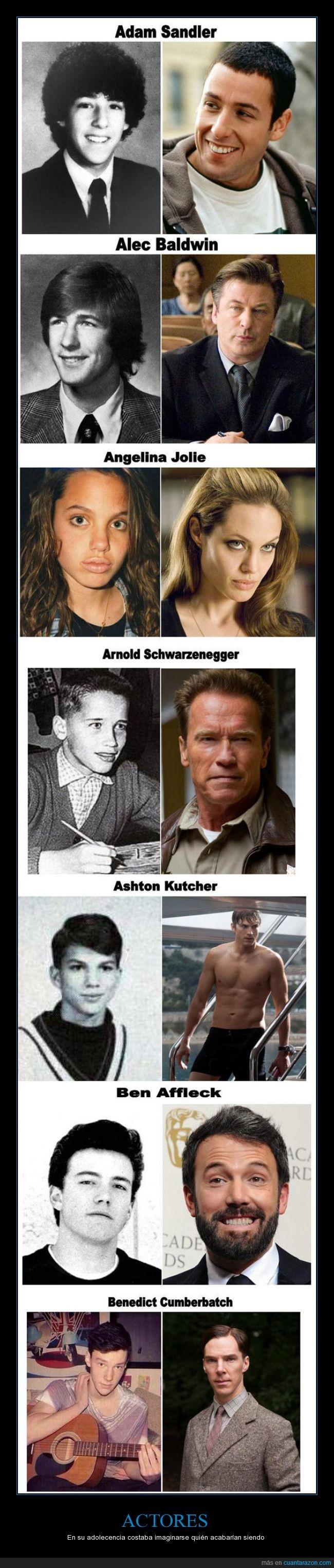 actores jovenes,ashton kutcher schwarzenegger,ben affleck,benedct cumberbach,edad,estrellas,inicios,jolie