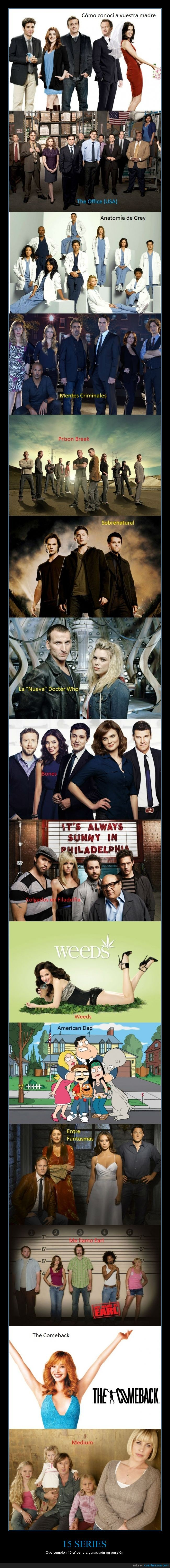 10 años,15 series,años,cumplir,dr. who,entre fantasmas,himym,medium,Series,supernatural,the comeback,weeds