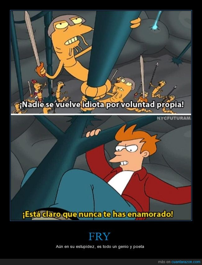 amor,enamorado,Fry,Futurama,Leela,nadie,propia,tonto,voluntad,vuelve