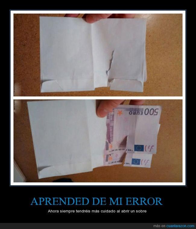 500,abierto,abrir,billete,cuidado,dinero,euros,romper,roto,sobre