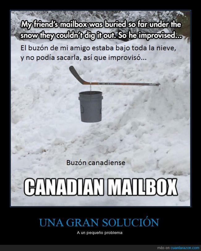 amigo,buzón,canadiense,cartas,cubo,enviar,hockey,nieve,recibir,stick
