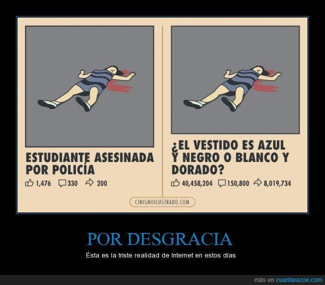asesinato,azul,blanco,Chica,color,colores,dorado,estudiante,importante,importar,negro,policia,the dress,vestido