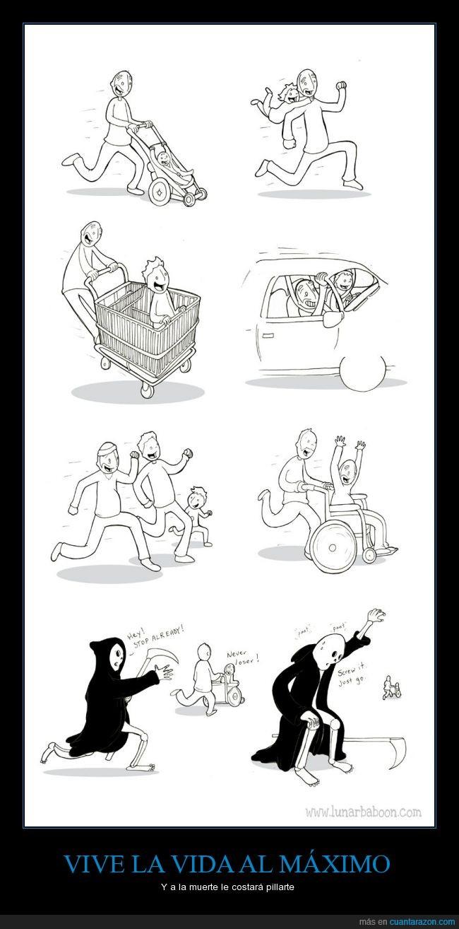 acelerar,alegría,coche,cómic,correr,dibujos,familia,felicidad,feliz,generaciones,hijo,huir,humor,muerte,padre,salud