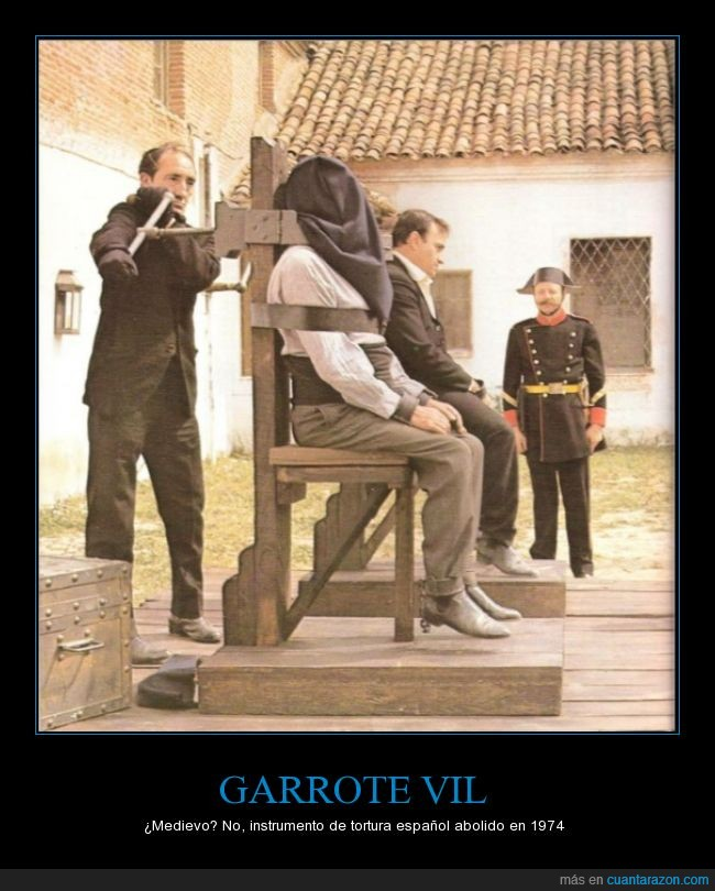 condena,franco,garrote,herramienta,instrumento,tortura,torturar,tricornio,vil
