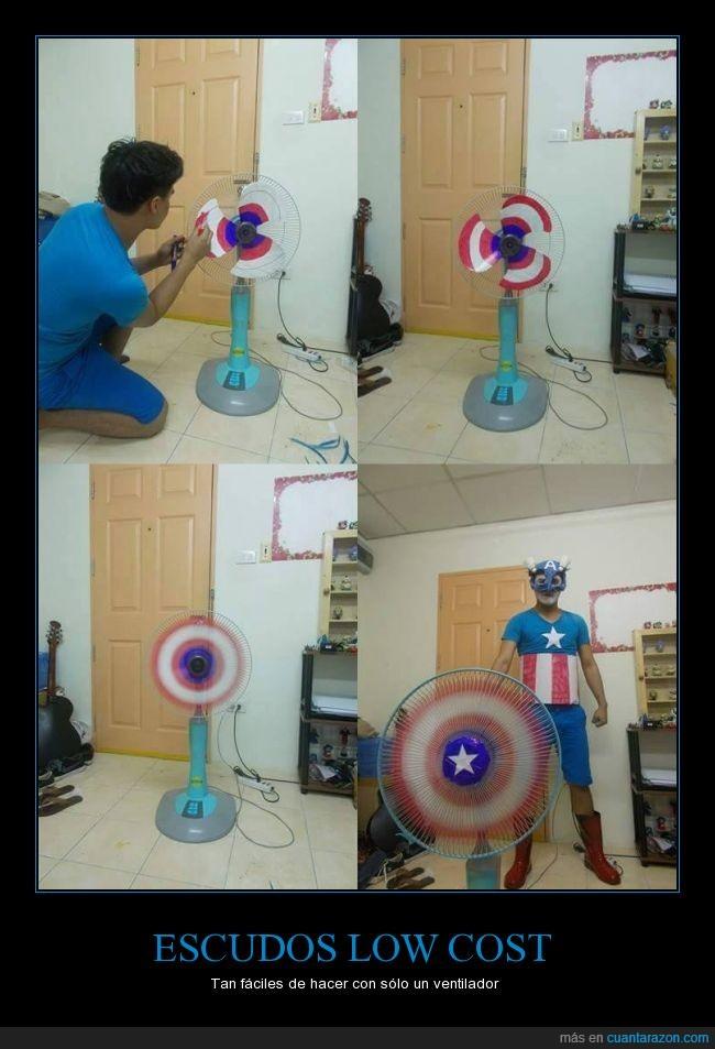 Capitán América,colores,cosplay,cutre,disfraz,efecto visual,girar,pintar,pintira,ventilador