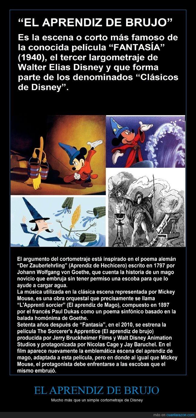 aprendiz de brujo,cortometraje,Disney,Dukas,Fantasia,Goethe,obra