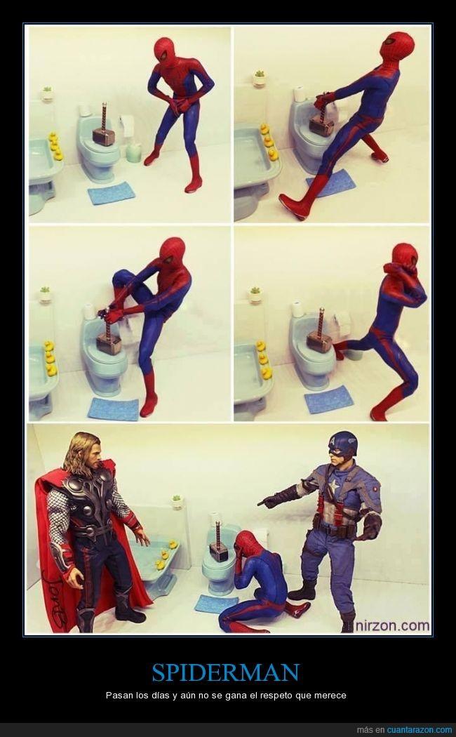 avengers,broma,capitan america,dejar,encima,lavabo,martillo,perdedor,peter parker,spiderman,thor,vater,vengadores
