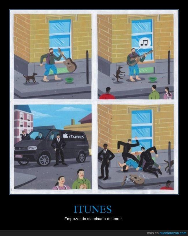 calle,cantar,cómic,derechos de autor,furgoneta,humor,itunes,paliza,represión,viñeta