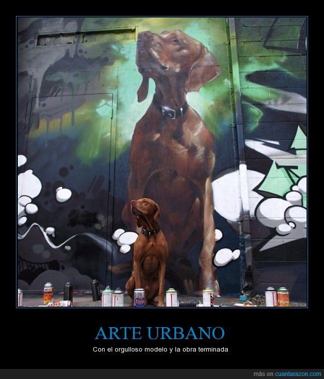 artista,cazador,edificio,fidedigno,graffiti,mural,musa,obra de arte,pared,perro,urbano
