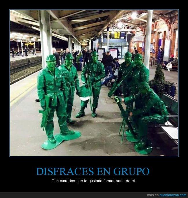 carnaval,disfraz,grupo,juguete,muñeco,soldado,verde