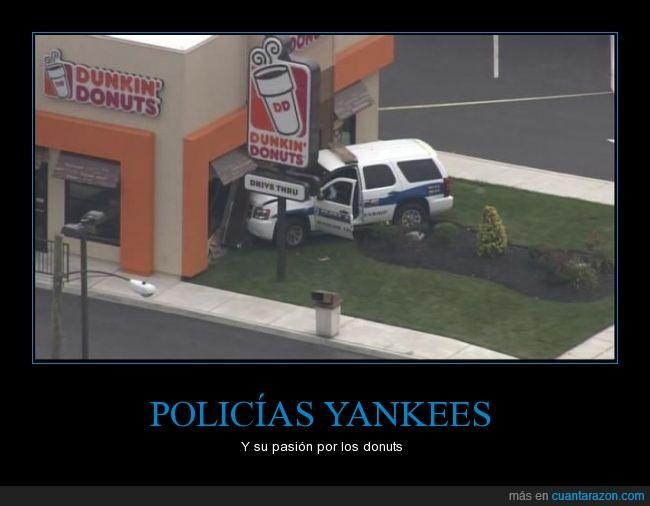 accidente,choque,Dunkin Donuts,estadounidenses,estrellar,policía,topico,yankees