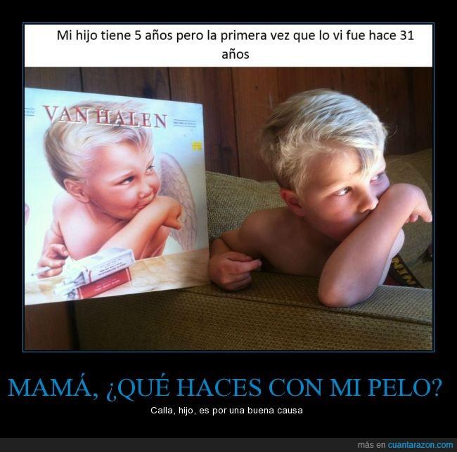 5,angel,años,cinco,clavado,edad,hijo,igual,niño,portada,posicion,sofa,Van Halen,vinilo
