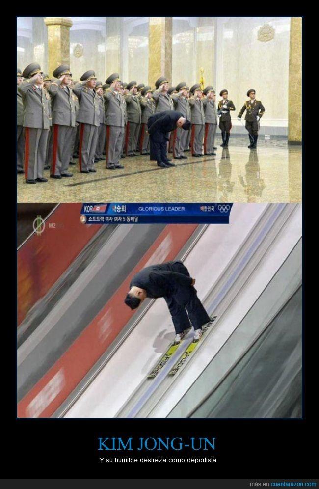 bajar,chop,Corea,descenso,esquiar,Kim Jong-Un,montaje,presidente,reverencia,ski