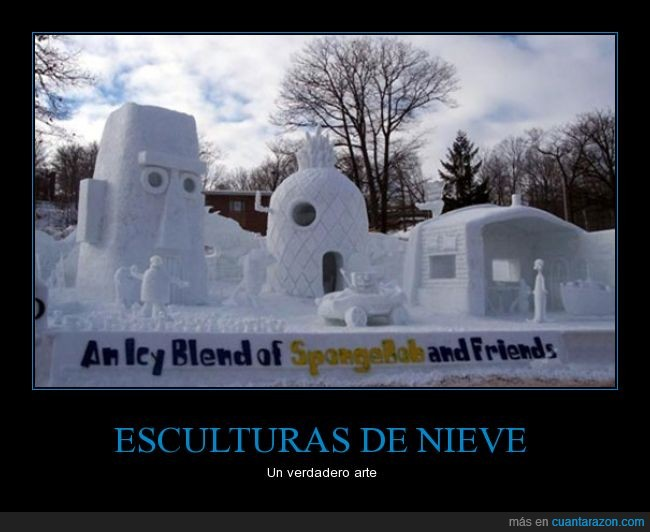 bob esponja,escultura,impresionante,lol,Nieve