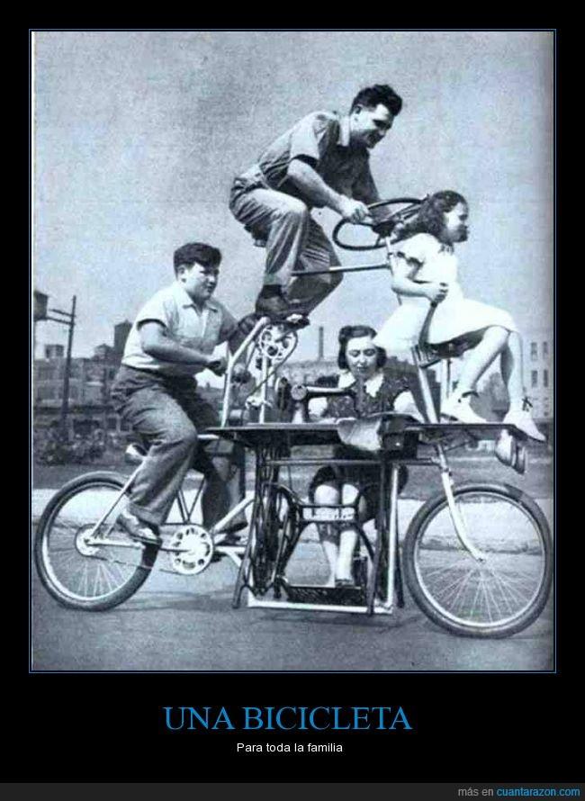 accidente,bicicleta,conducción,conducir,coser,familiar,la mujer cosiendo como no,maquina,se la van a dar